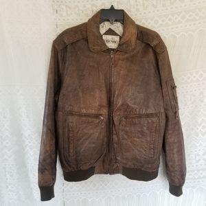 Geronimo Vintage Brown Leather Bomber Jacket